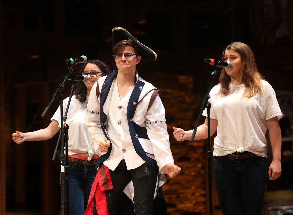 Students from Early College High School perform during a Hamilton Education Program event at the Music Hall at Fair Park in Dallas on May 2, 2019.
