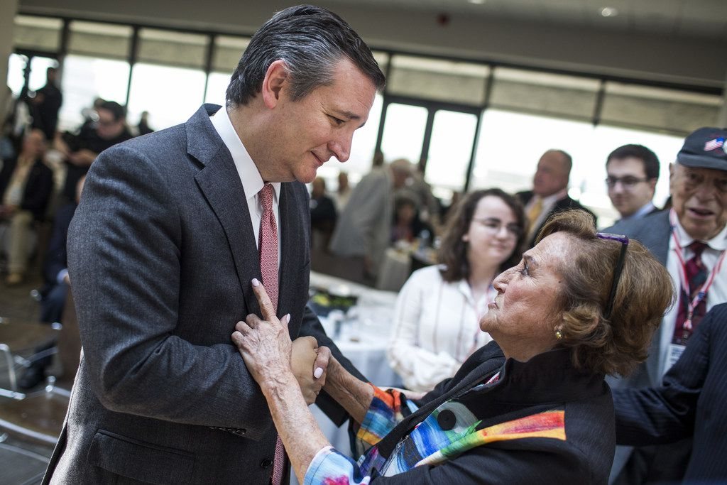 Sen. Ted Cruz, R-Texas, speaks to Dee Dee Fein of Cherry Hill, N.J., on Capitol Hill. He delivered remarks during an event hosted by the Zionist Organization of America.