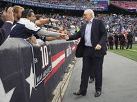 Dallas Cowboys owner and general manager Jerry Jones shakes hands with fans before an NFL football game against the New England Patriots on Sunday, Oct. 17, 2021, in Foxborough, Mass.