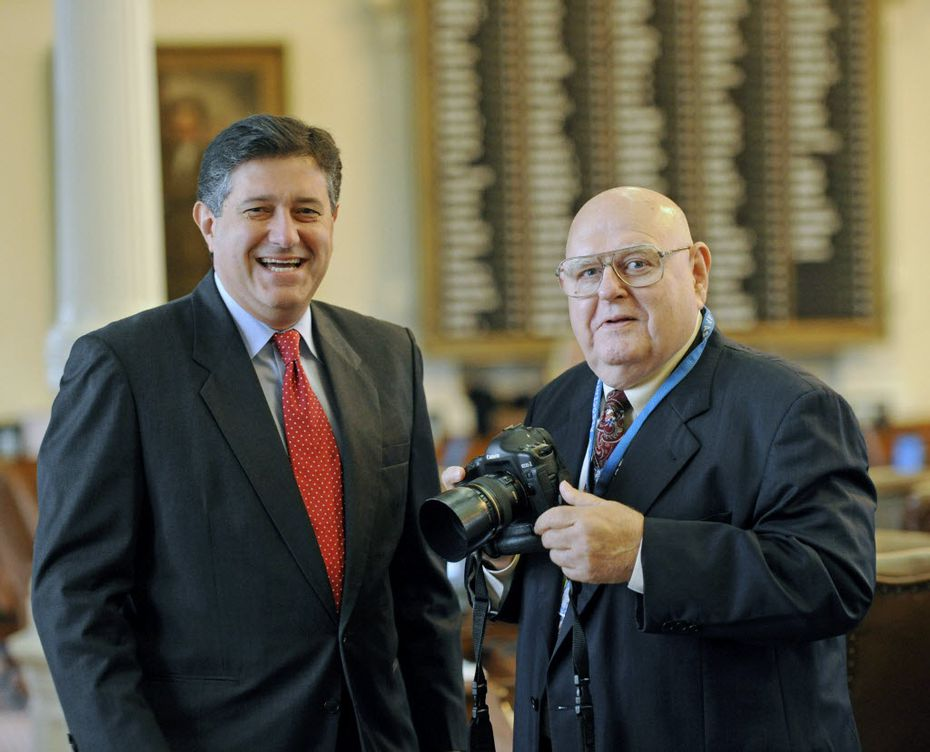 Rep. Richard Raymond (left), D-Laredo, with former Associated Press photographer Harry Cabluck in 2011. (File Photo/The Associated Press)