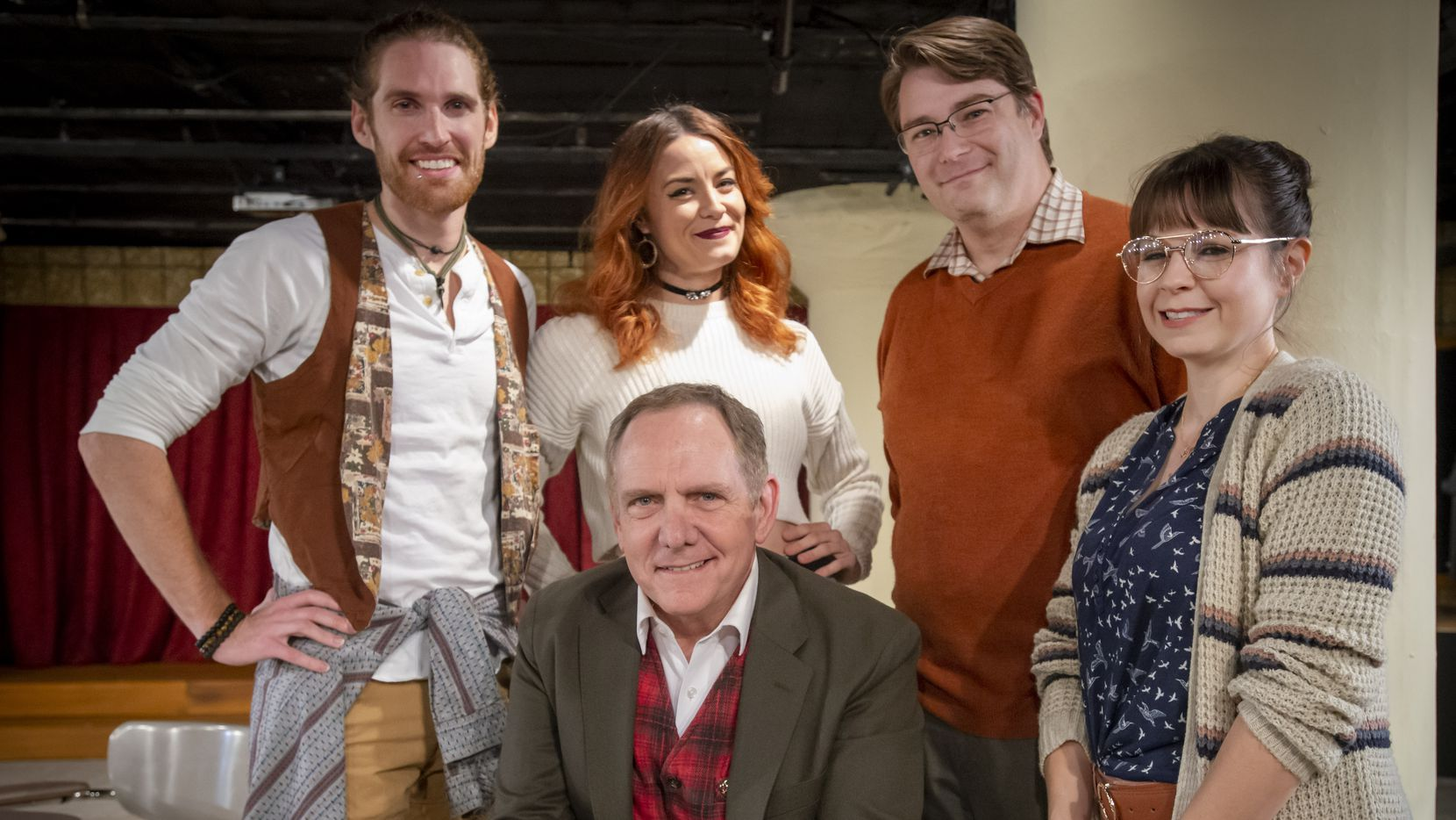 """Undermain Theatre producing artistic director Bruce DuBose is surrounded by the cast of """"The Thanksgiving Play."""""""