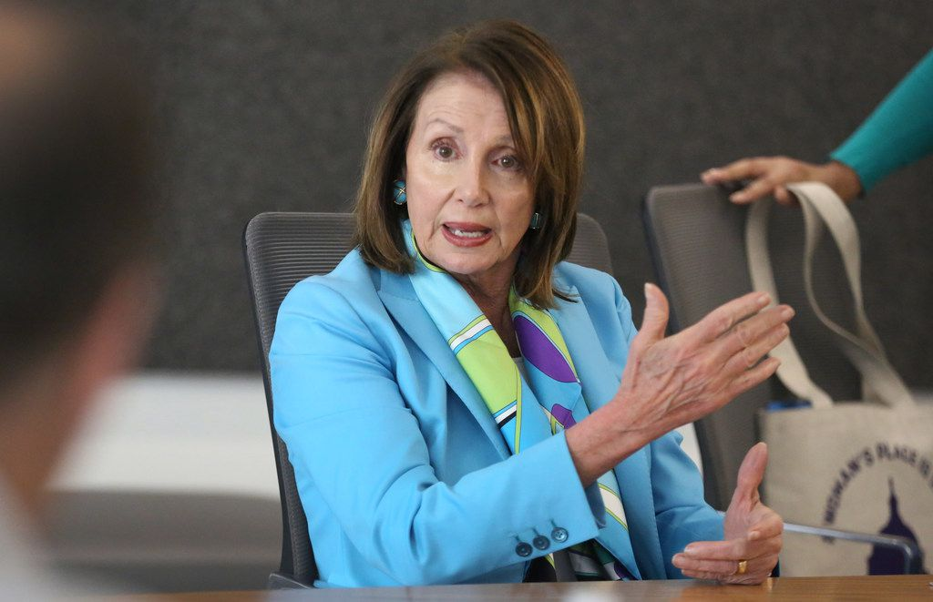 US House Minority Leader Nancy Pelosi meets with The Dallas Morning News' editorial board to discuss the Democrats' plan called the Better Deal on Friday, May 11, 2018 at the DMN offices in Dallas.