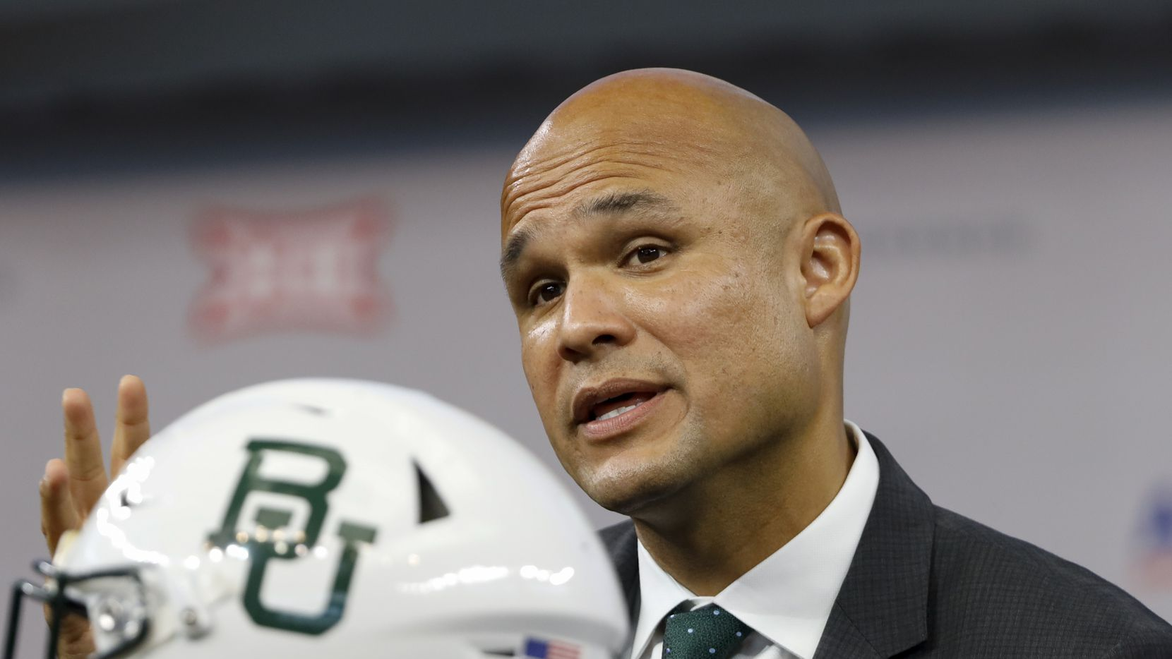Baylor head football coach Dave Aranda speaks during the Big 12 Conference Media Days at AT&T Stadium on Thursday, July 15, 2021, in Arlington.