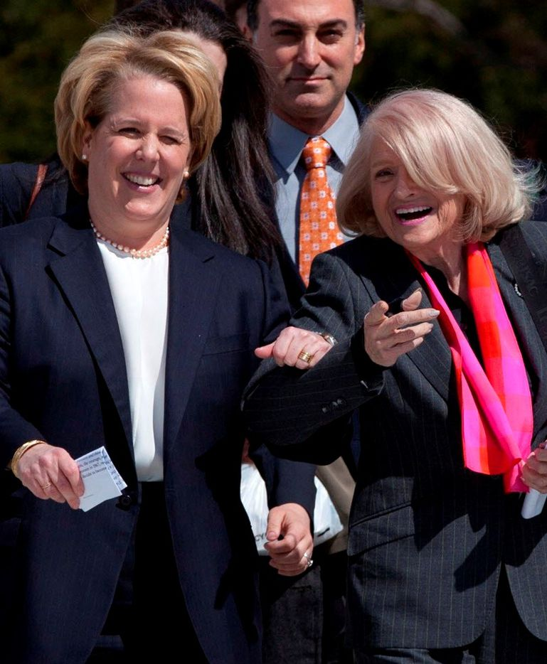 Gay rights pioneer Edith Windsor (with attorney) died Sept. 12. (The Associated Press)