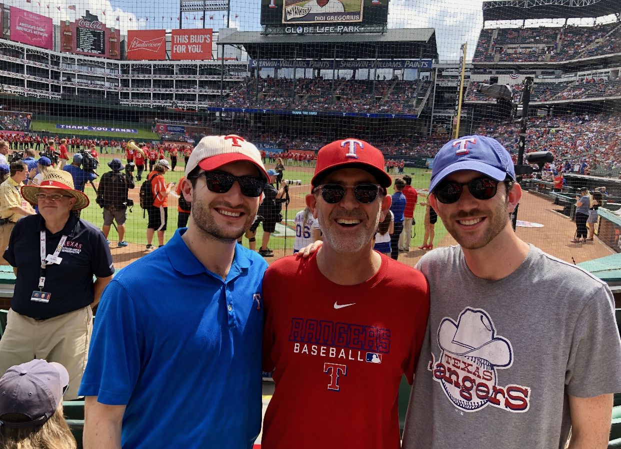 (L-R) Louis, Marc And Miles Andres on Sept. 29, 2019, the final game at Globe Life Park. (Courtesy Marc Andres)