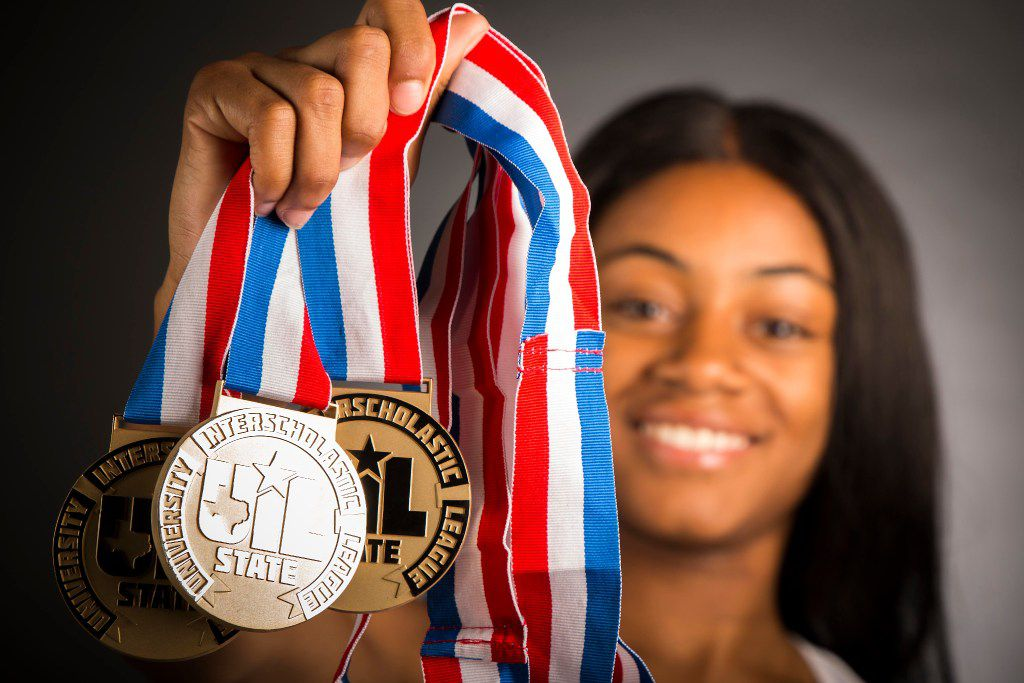 Girls track athlete of the   year Sha'Carri Richardson of Carter High School photographed in The Dallas Morning News studio on Wednesday, May 17, 2017, in Dallas. (Smiley N. Pool/The Dallas Morning News)
