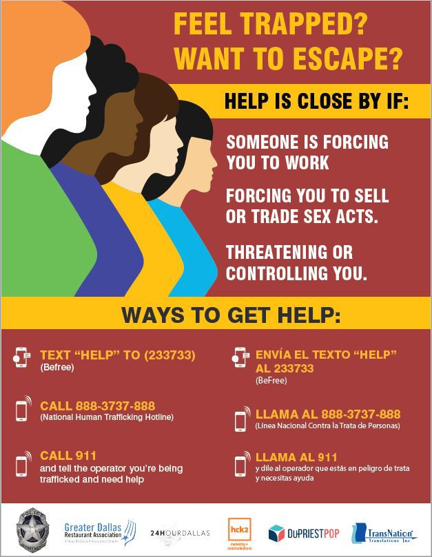 The Dallas Restaurant Association has developed a poster to help trafficking victims find help. It was unveiled January 7, 2020 at Dallas County Commissioners Court.