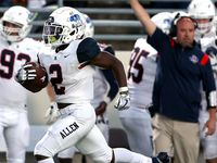 Allen running back Jaylen Jenkins (2) goes 75 yards for a touchdown against Denton Guyer during the first half in a District 5-6A high school football game played at the C.H. Collins Complex on Friday, October 15, 2021, in Denton. (Steve Nurenberg/Special Contributor)
