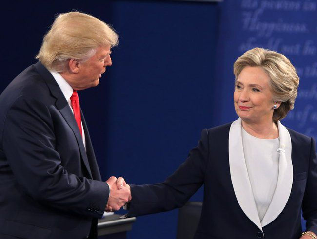A Texas man is accused of raising more than $500,000 from fraudulent political committees for Donald Trump, Hillary Clinton and Bernie Sanders. Clinton and Trump shook hands at the end of the debate on Oct. 9, 2016, but not at the start.