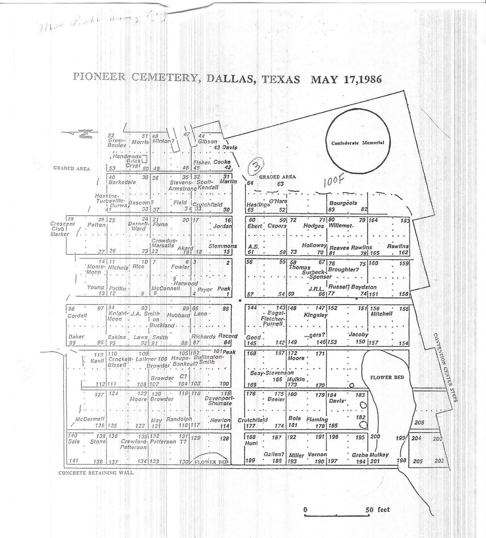 From the city's website, the last time the cemetery appears to have been mapped