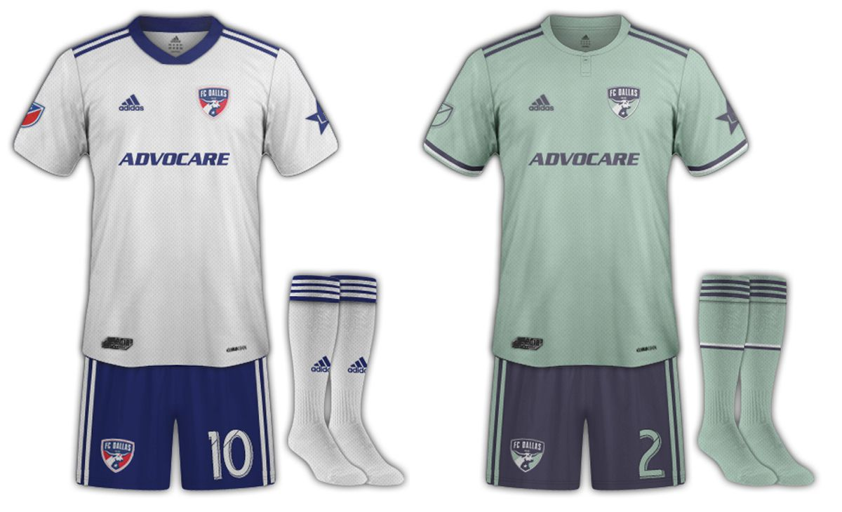 """Two """"white"""" jersey and blue shorts kit combos by Dan Crooke for the 2019 FC Dallas secondary kit."""