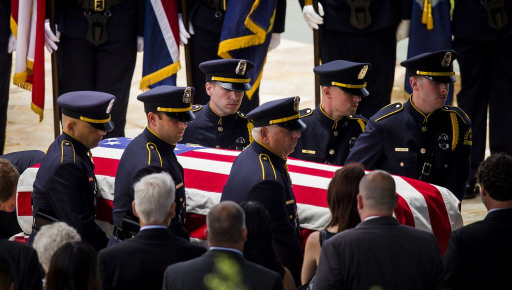 Services for Dallas police officer Michael Krol at Prestonwood Baptist Church on Friday, July 15, 2016, in Plano.  Krol was one of five law enforcement officers killed last week in an ambush at a Black Lives Matter rally. (Smiley N. Pool/The Dallas Morning News)