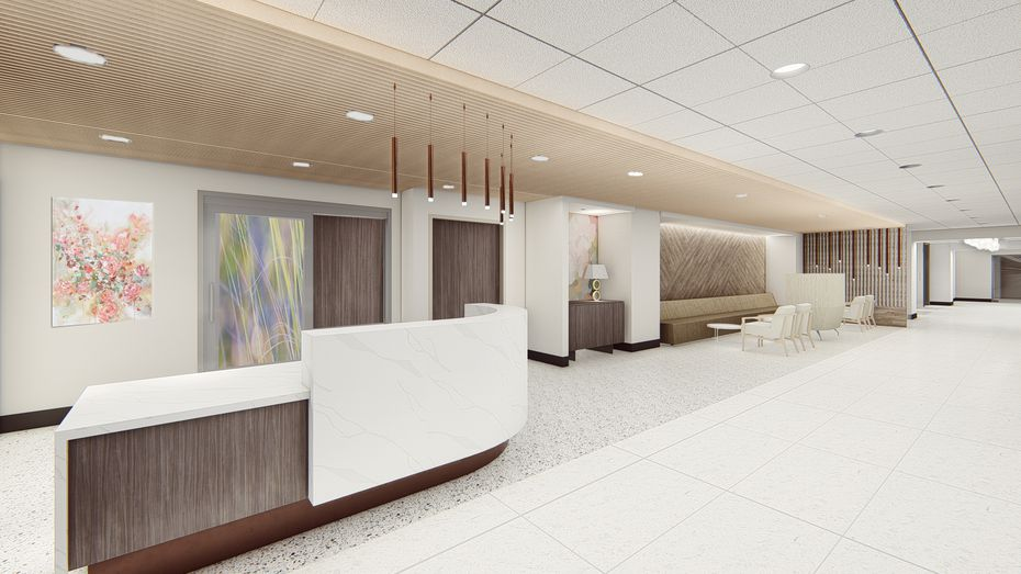 A rendering for a new waiting room as part of the center's renovation.