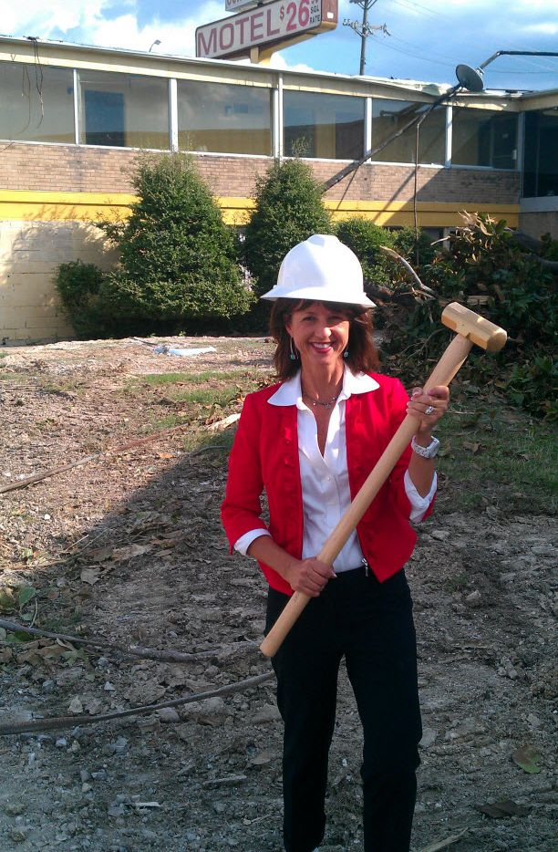 Former Richardson Mayor Laura Jordan at the demolition of a hotel while she was still in office.