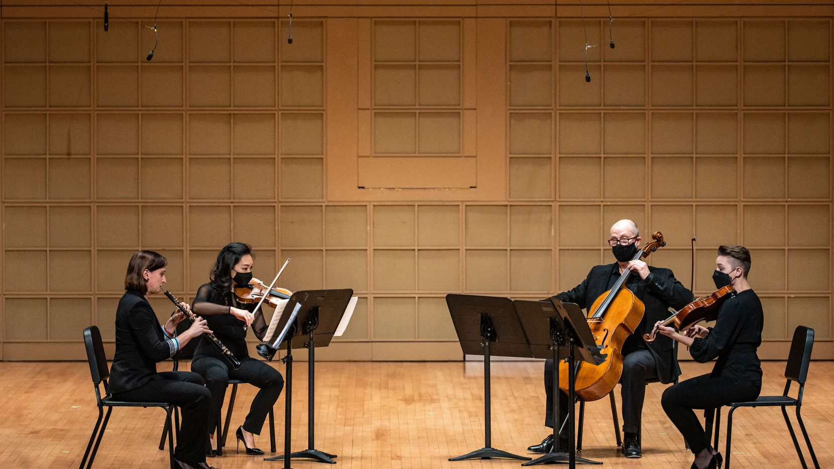 Oboist Erin Hannigan, violinist Eunice Keem, cellist Christopher Adkins and violist Meredith Kufchak premiere the 'Quartet for Oboe and Strings' by American composer Jeremy Gill as part of the Dallas Chamber Music Society concert at the Morton H. Meyerson Symphony Center in Dallas on Nov. 16.