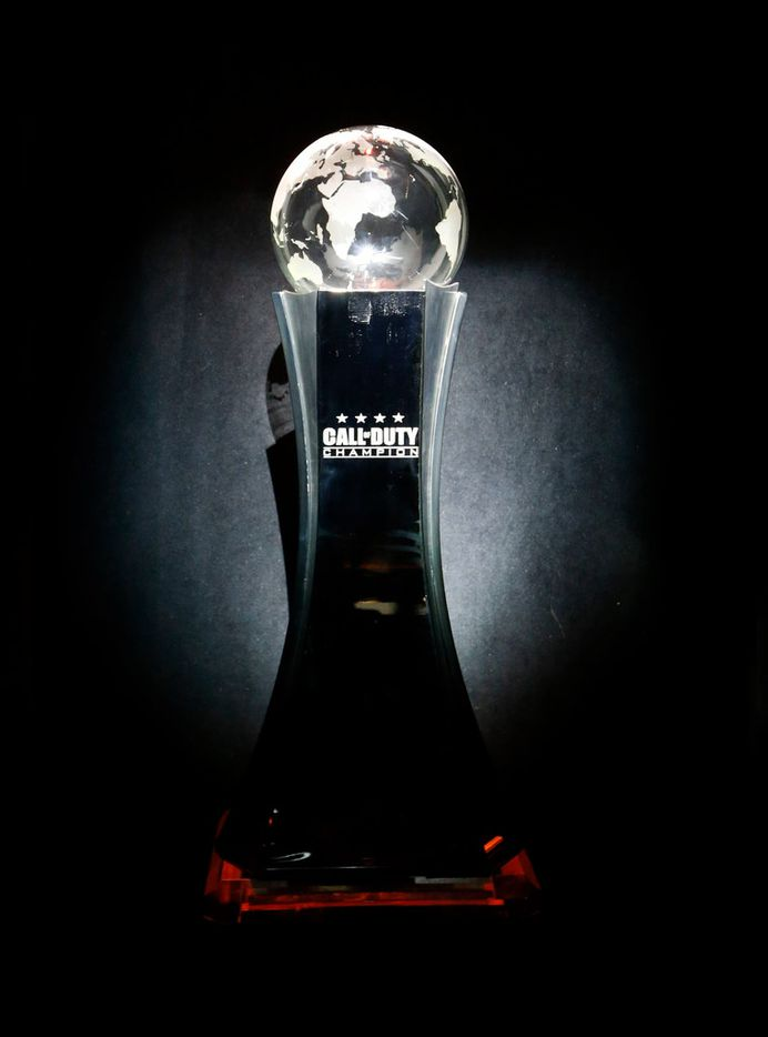 Call of Duty World League Champion trophy on display as people enter  the Hall at the Dallas Convention Center in Dallas, on Friday, December 8, 2017.