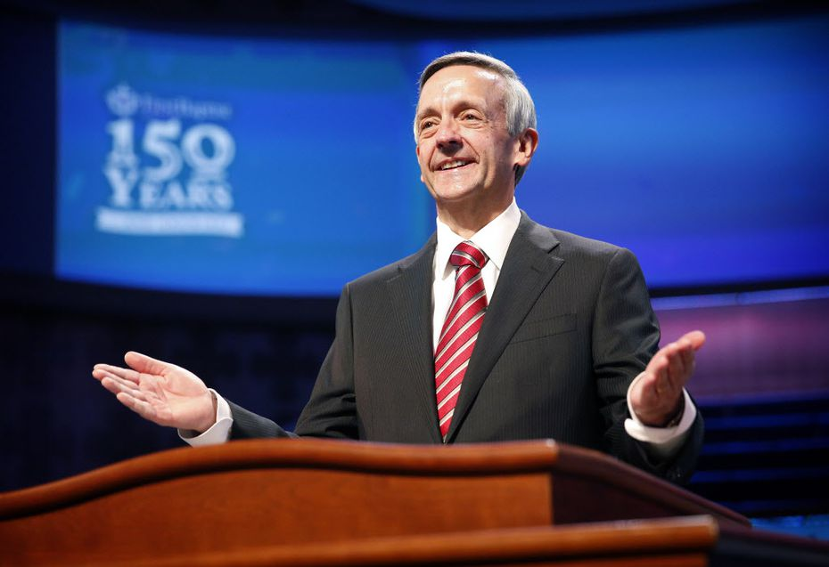 Robert Jeffress doesn't usually need a dress rehearsal, but with the upcoming 150th anniversary celebration, he worked with production staff on his presentation at the downtown Dallas church on Wednesday.