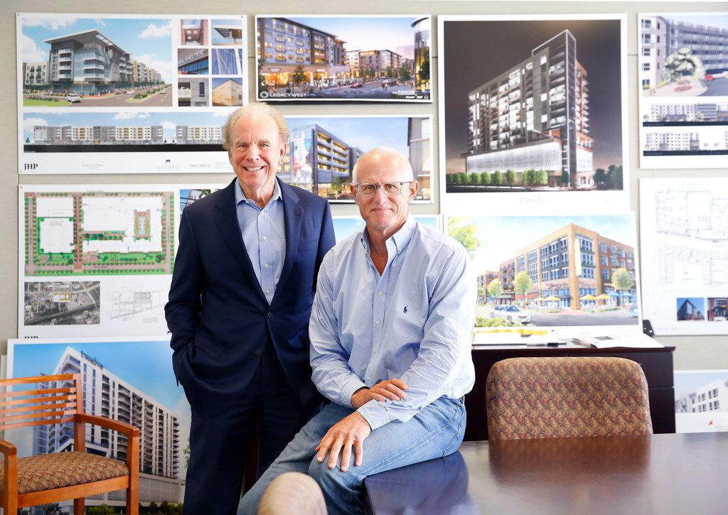 Former Dallas Cowboys players and now real estate partners Roger Staubach (left) and Robert Shaw are pictured at Columbus Realty Partners in Dallas on Oct. 4.