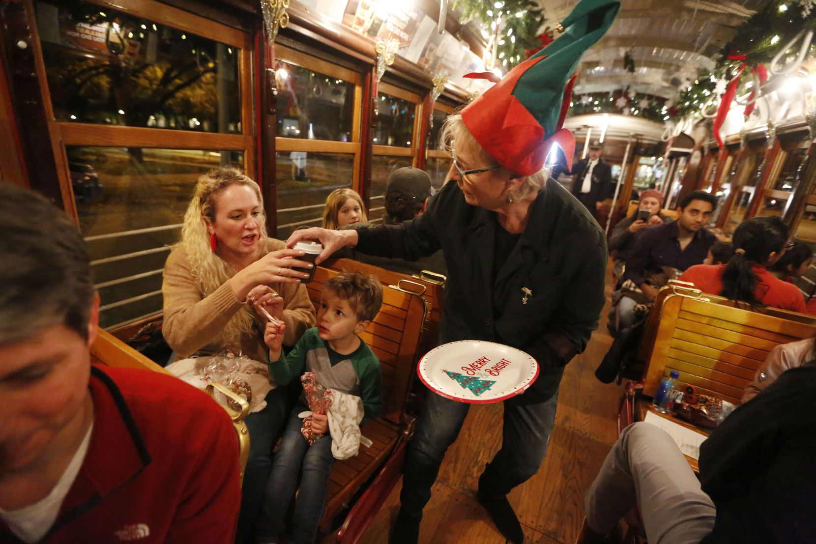 During the M-Line Trolley Holiday Express, view lights and decorations from the trolley while enjoying treats onboard.