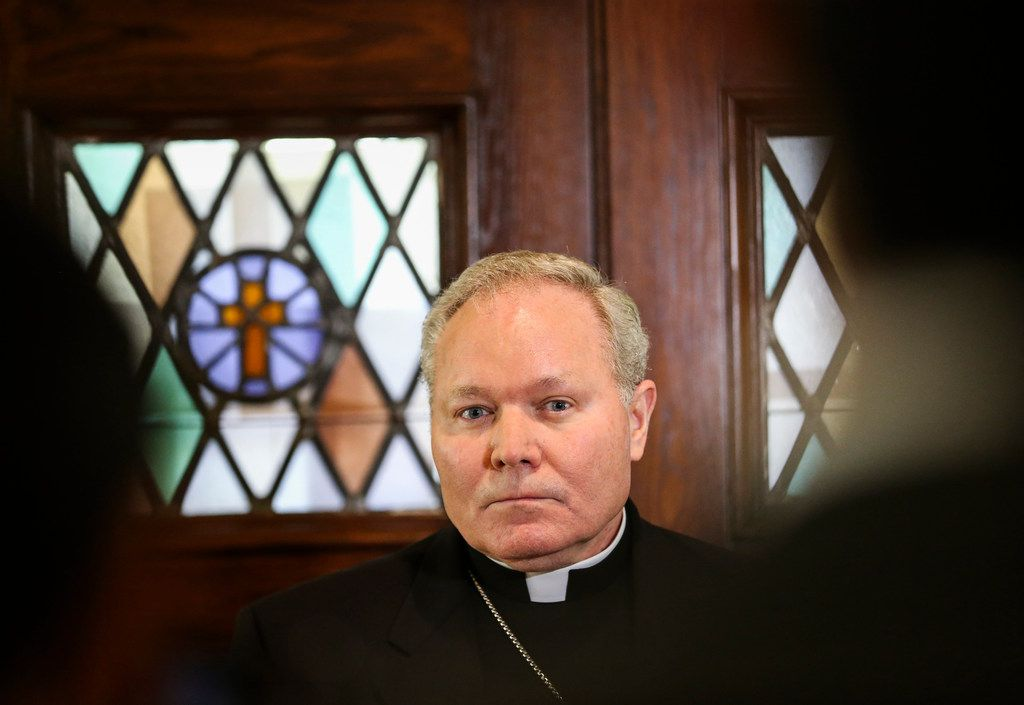 Dallas Bishop Edward J. Burns spoke to members of the media after a police raid on several diocese offices on May 15.