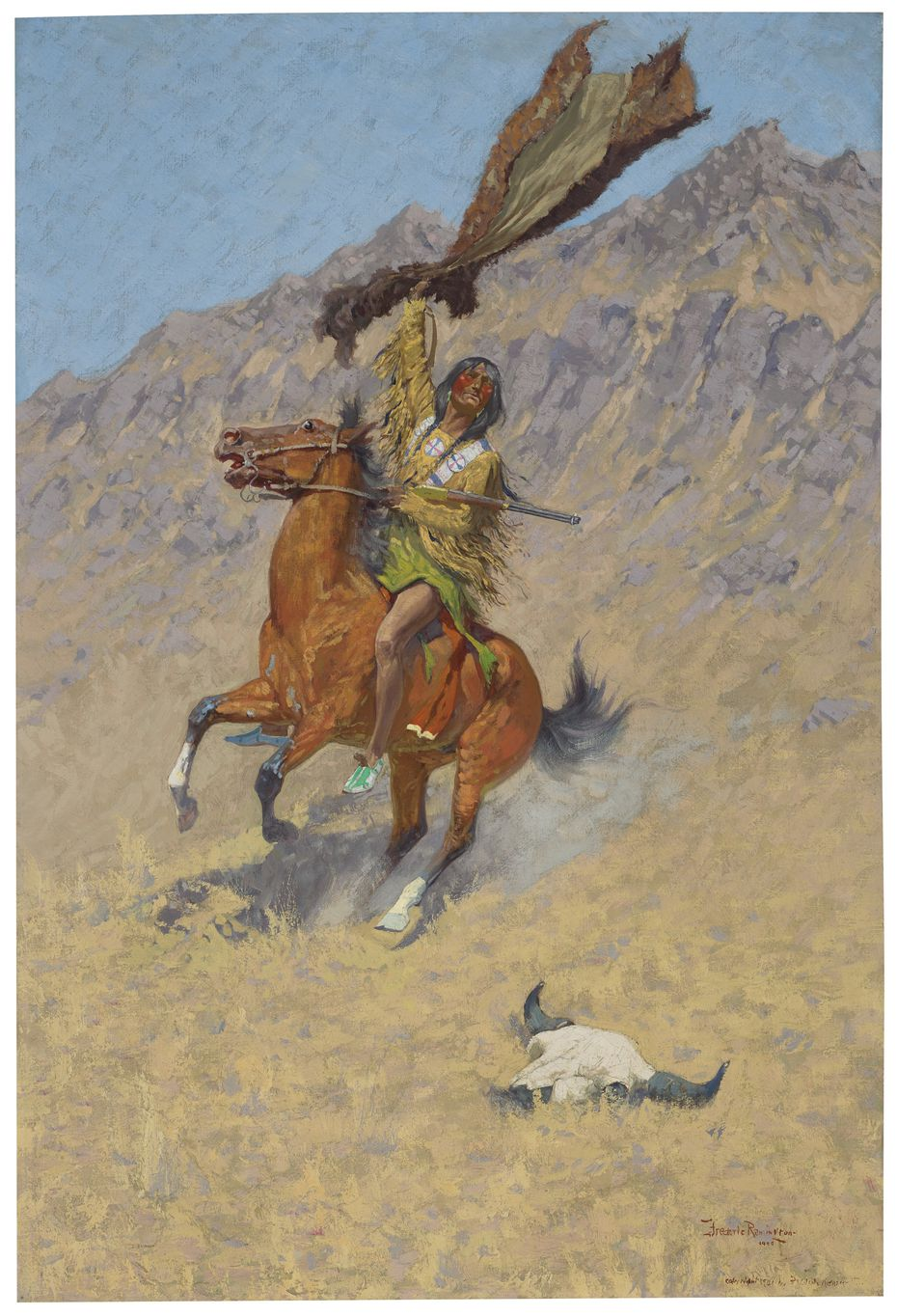The Signal (If Skulls Could Speak) painted in 1900 by Frederic Remington is the centerpiece of an upcoming auction of the T. Boone Pickens art collection by Christie's in New York. It has a presale estimate of $3 million to $5 million.