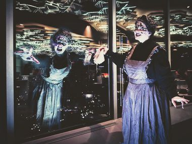 Reunion Tower's Halloween event is Haunted Tall Tales, a ghost tour of Dallas from high above the skyline with vantage points of every tale.