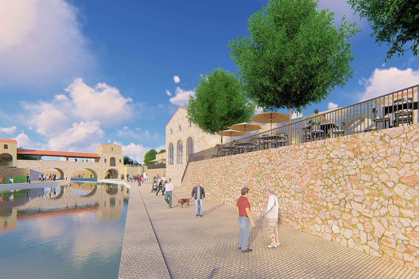 A lakeside restaurant village and bridge is shown in an artists concept for Entrada.