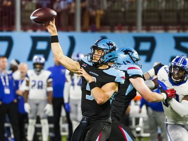 Dallas Renegades quarterback Philip Nelson (9) throws a pass during the second half of an XFL football game against the St. Louis Battlehawks at Globe Life Park on Sunday, Feb. 9, 2020, in Arlington.