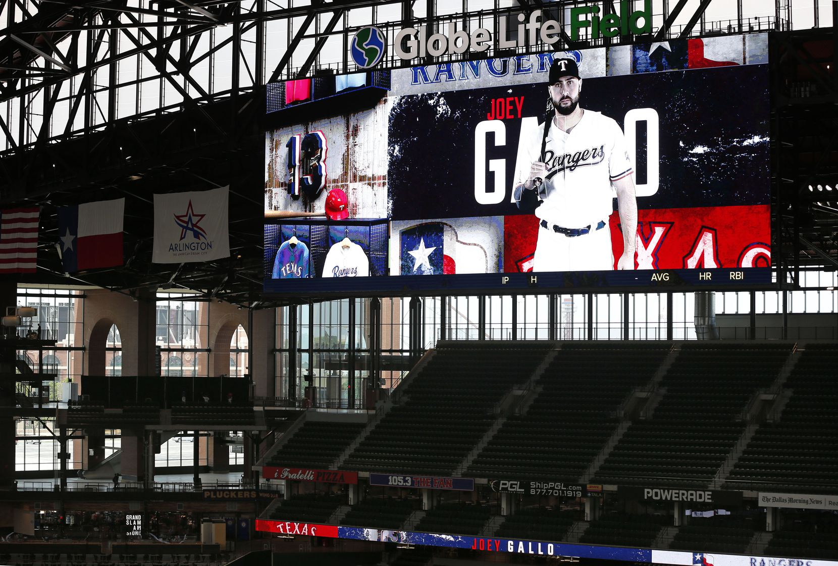 Texas Rangers outfielder Joey Gallo is pictured on the right field video board during Summer Camp at Globe Life Field in Arlington, Texas, Wednesday, July 8, 2020.