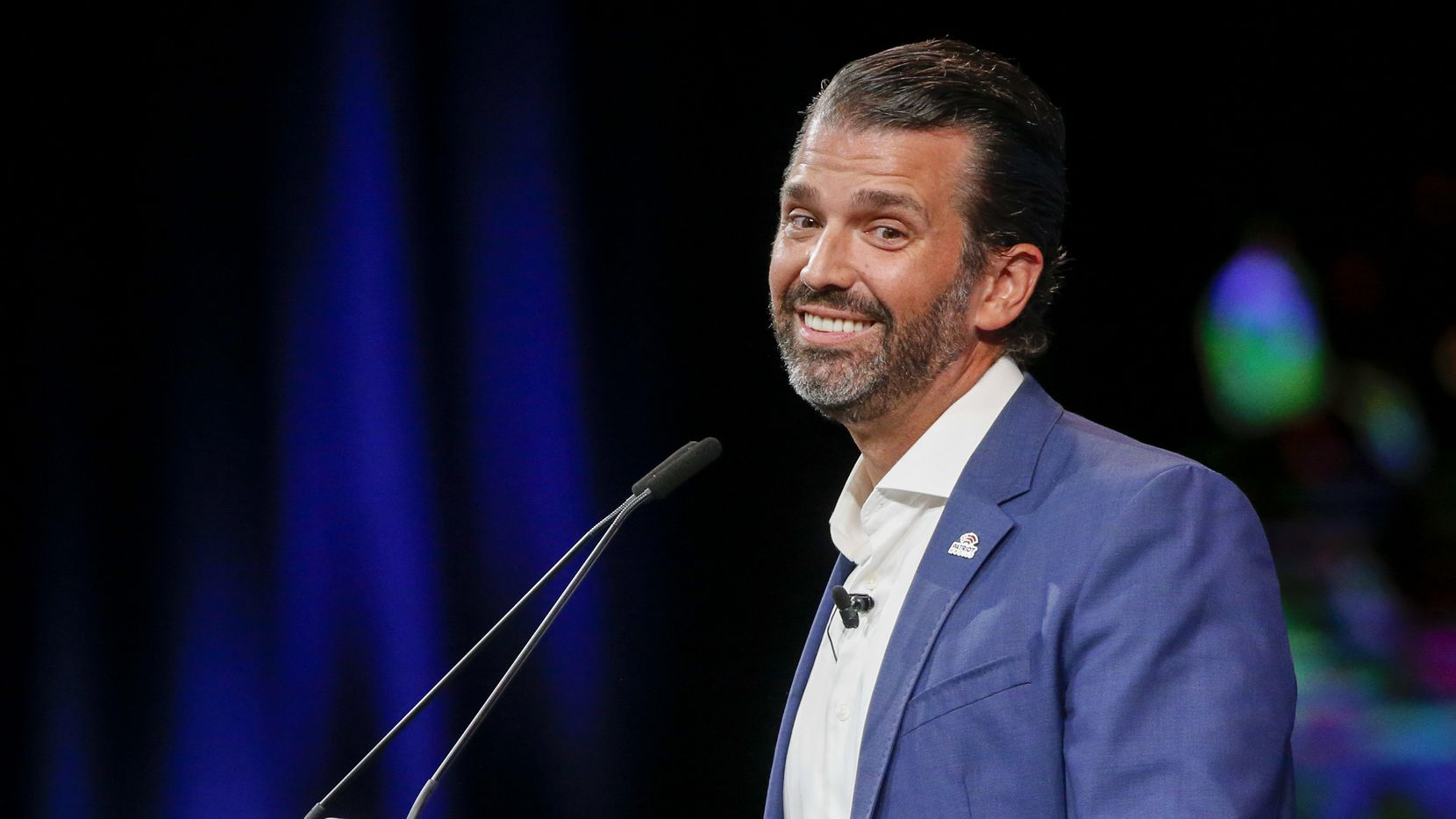Donald Trump Jr. speaks at the Conservative Political Action Conference on Friday, July 9, 2021, in Dallas.