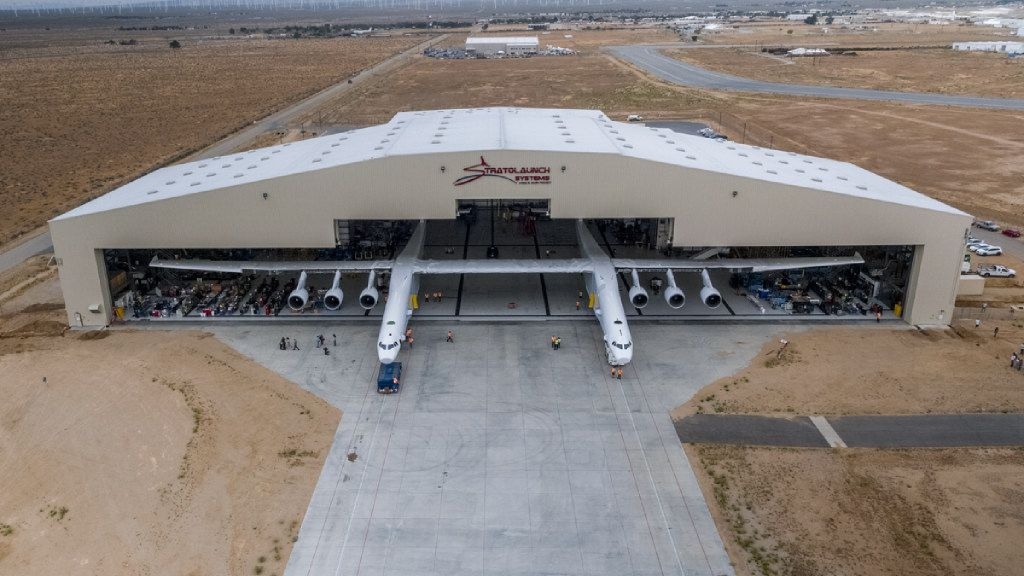The Stratolaunch plane was pushed out of the hangar for the first time in the Mojave desert on May 31, 2017.