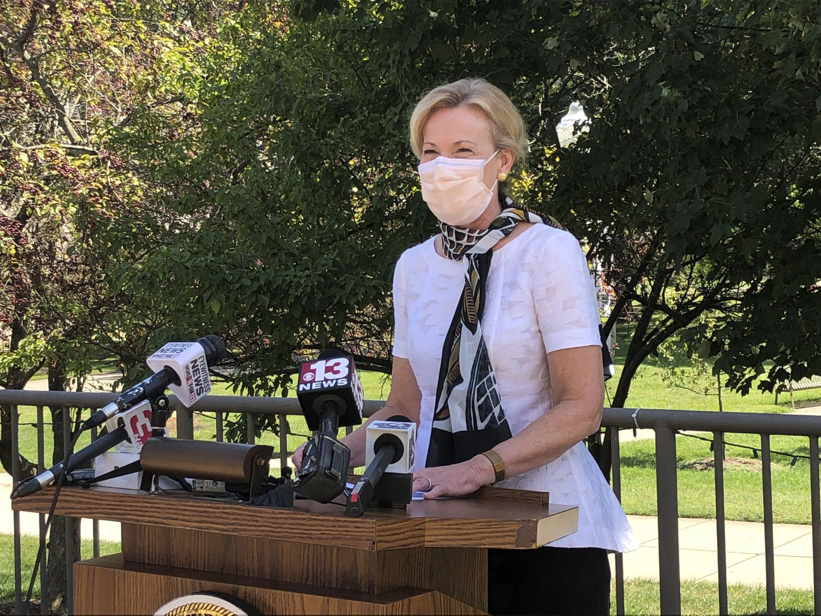 Dr. Deborah Birx, President Donald Trump's top coronavirus adviser, speaks at a news conference at the state Capitol Complex on Wednesday, Aug. 19, 2020, in Charleston, W.Va.