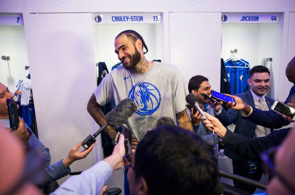 Dallas Mavericks center Willie Cauley-Stein (33) speaks to reporters in the locker room before an NBA game between the Dallas Mavericks and the Phoenix Suns on Tuesday, January 28, 2020 at the American Airlines Center in Dallas.