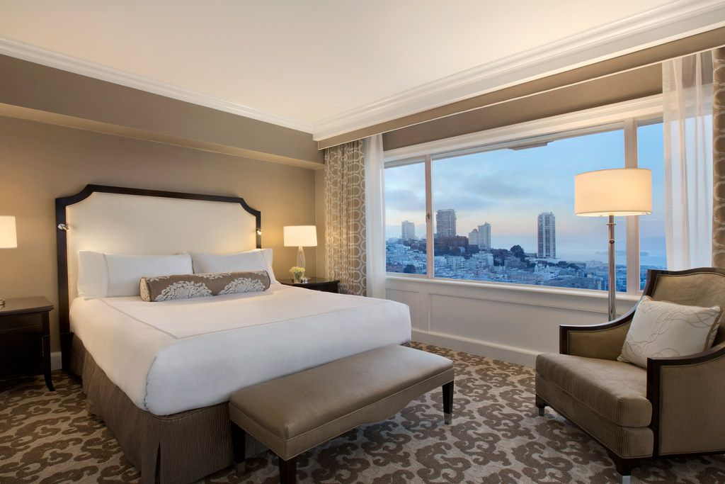 Guests can stay in the Signature King Room at the breathtaking Fairmont San Francisco hotel on Nob Hill.