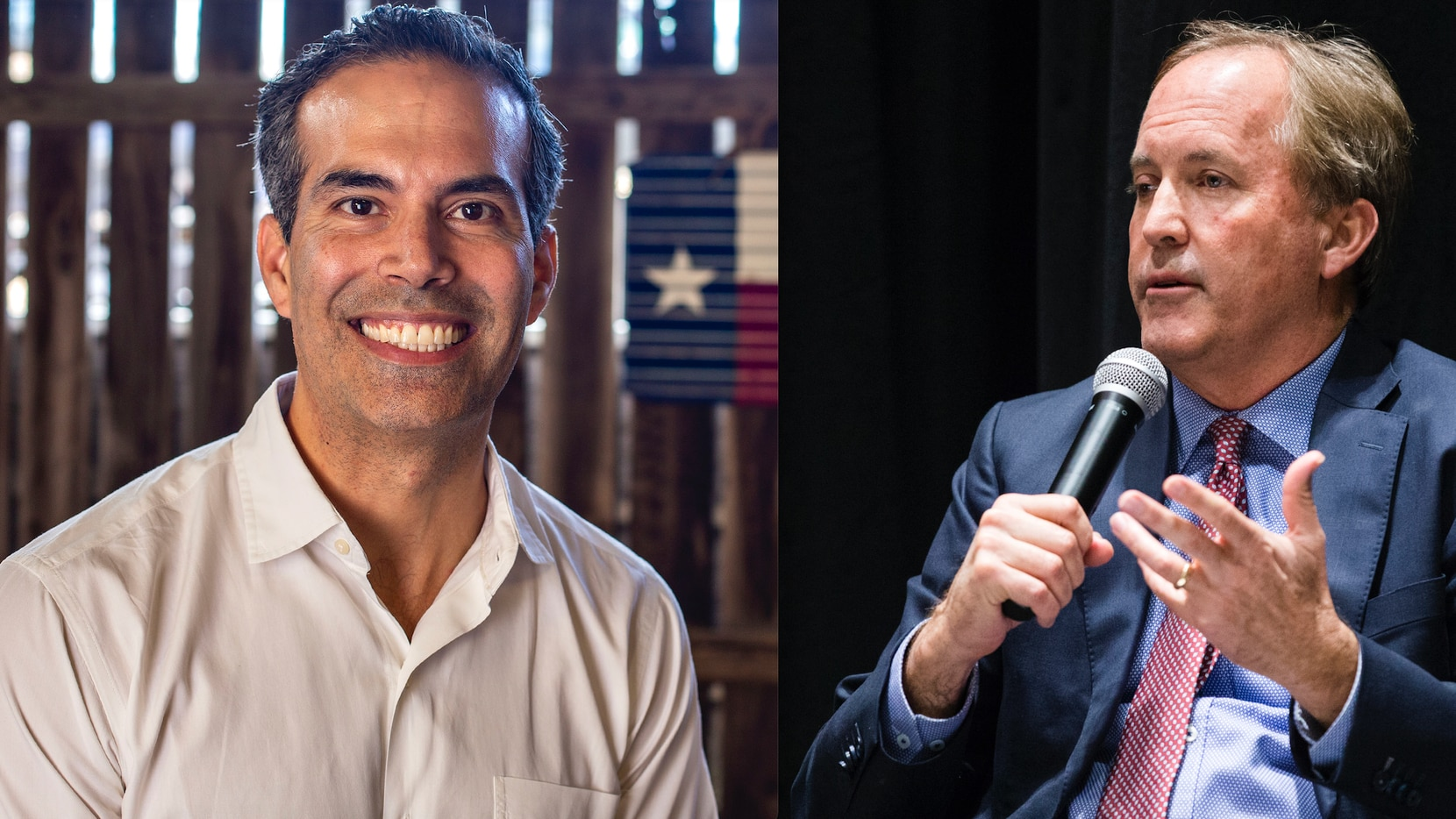 Texas Land Commissioner George P. Bush, left, is mulling a challenge against Attorney General Ken Paxton, right. Both are Republicans. Bush pictured at Velentina's Tex Mex on November 25, 2019 in Austin, Texas (credit: Thao Nguyen/Special Contributor). Paxton pictured at an event at The Dallas Morning News on on Wednesday, February 26, 2020 (credit: Ashley Landis/The Dallas Morning News).