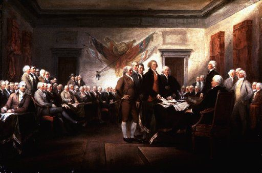 The Signing of the Declaration of Independence. Painting by John Trumbull.