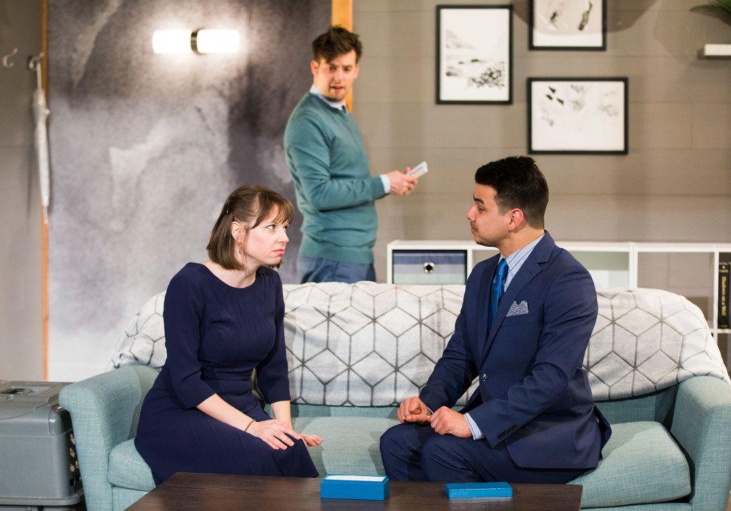 Jenny Ledel (center) plays Her, Drew Wall (left) plays Him and Christopher Llewyn Ramirez (right) plays Joe and Matty D. in Empathitrax, an area premiere presented by Second Thought Theatre at Bryant Hall on the Kalita Humphreys campus.