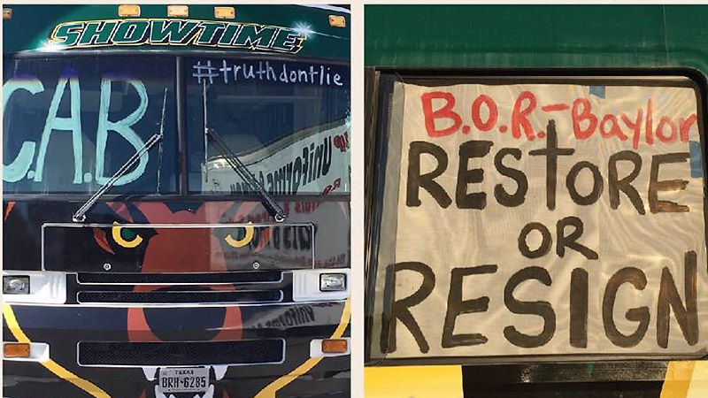 Baylor alumna Jessica Armstrong drove around campus for two hours Tuesday in a Bears-themed RV adorned with slogans supporting former head football coach Art Briles. (Facebook)