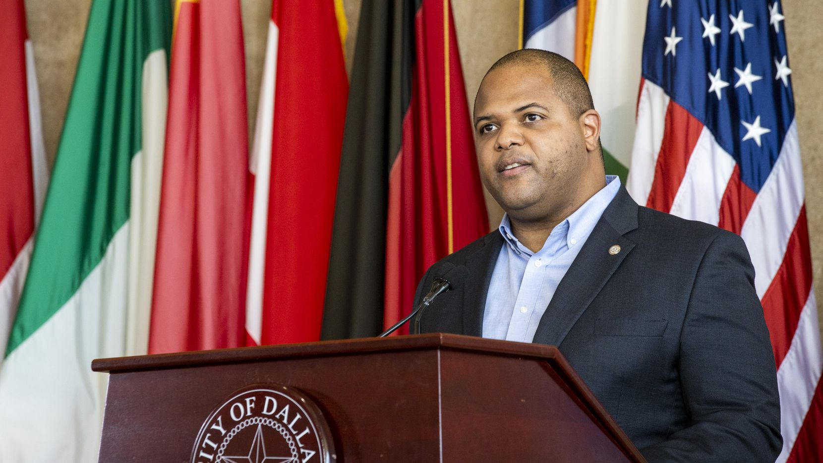 Mayor Eric Johnson announces action passed by the city council to help residents and businesses affected by the COVID-19 pandemic during a press conference at Dallas City Hall in Dallas on Tuesday, April 21, 2020.