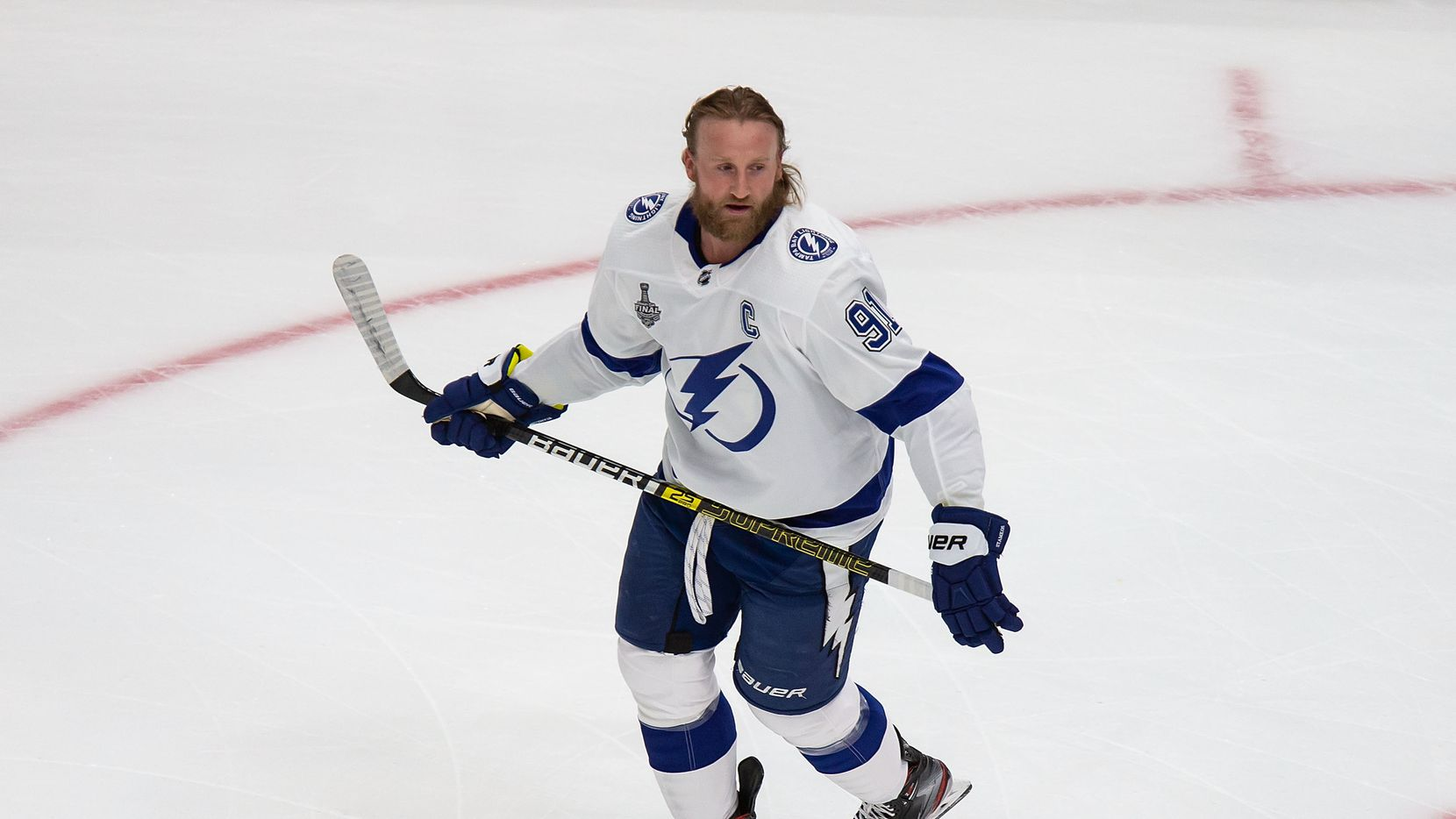 Steven Stamkos (91) of the Tampa Bay Lightning warms up during Game Three of the Stanley Cup Final against the Dallas Stars at Rogers Place in Edmonton, Alberta, Canada on Wednesday, September 23, 2020.