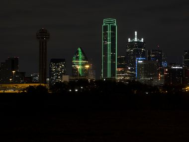 "Several Dallas downtown buildings turn off their exterior lights off on Wednesday, April 21, 2021, in Dallas. Former First Lady Laura Bush has encouraged Dallas leaders and residents to join the ""lights out"" campaign to save migrating birds, and the peak dates of the lights out campaign are April 19 through May 7. (Juan Figueroa/The Dallas Morning News)"
