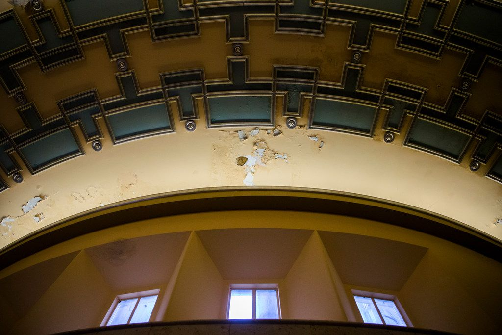 Paint chips on the ceiling from chilled water pipes are shown inside the historic Hall of State building on March 1, 2019 at Fair Park in Dallas. The building, originally built in 1936 ahead of the Texas Centennial Exposition, will soon begin a restoration.