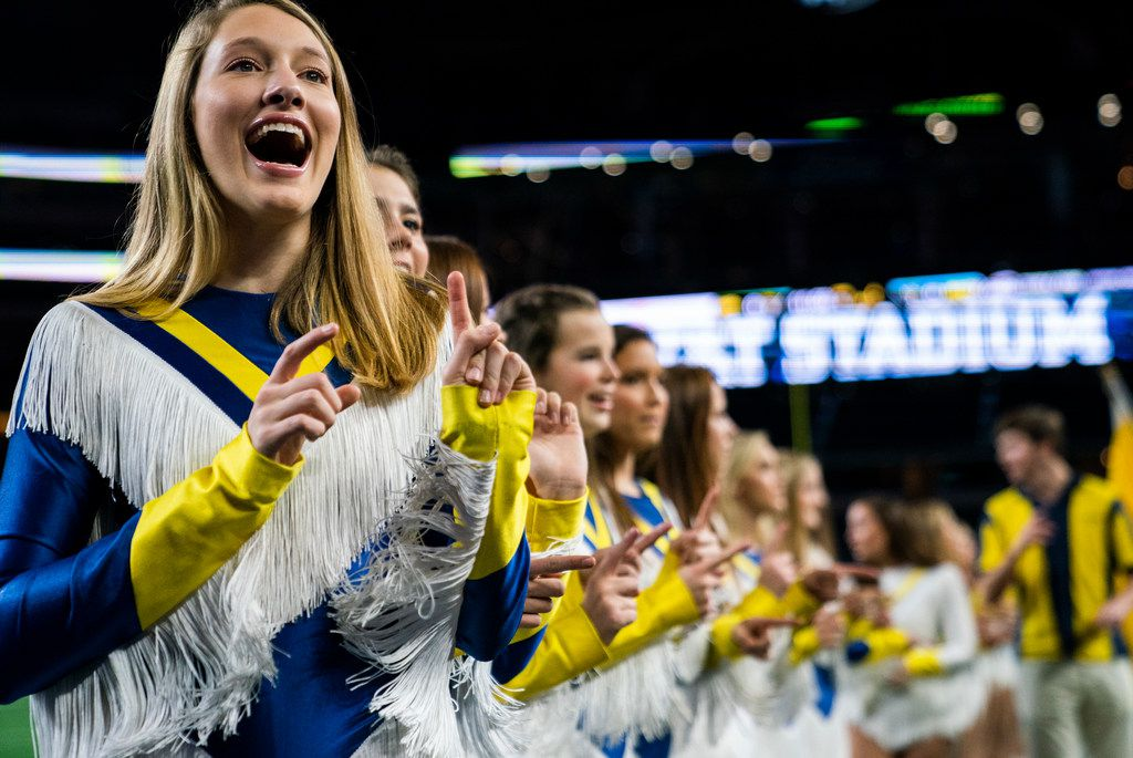 Highland Park dance team members sing the school song before a Class 5A Division I area-round playoff game between Magnolia and Highland Park on Thursday, November 21, 2019 at AT&T Stadium in Arlington. (Ashley Landis/The Dallas Morning News)