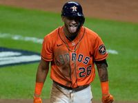 Houston Astros' Jose Siri reacts after striking out during the fourth inning in Game 2 of baseball's World Series between the Houston Astros and the Atlanta Braves Wednesday, Oct. 27, 2021, in Houston. (AP Photo/Ashley Landis)