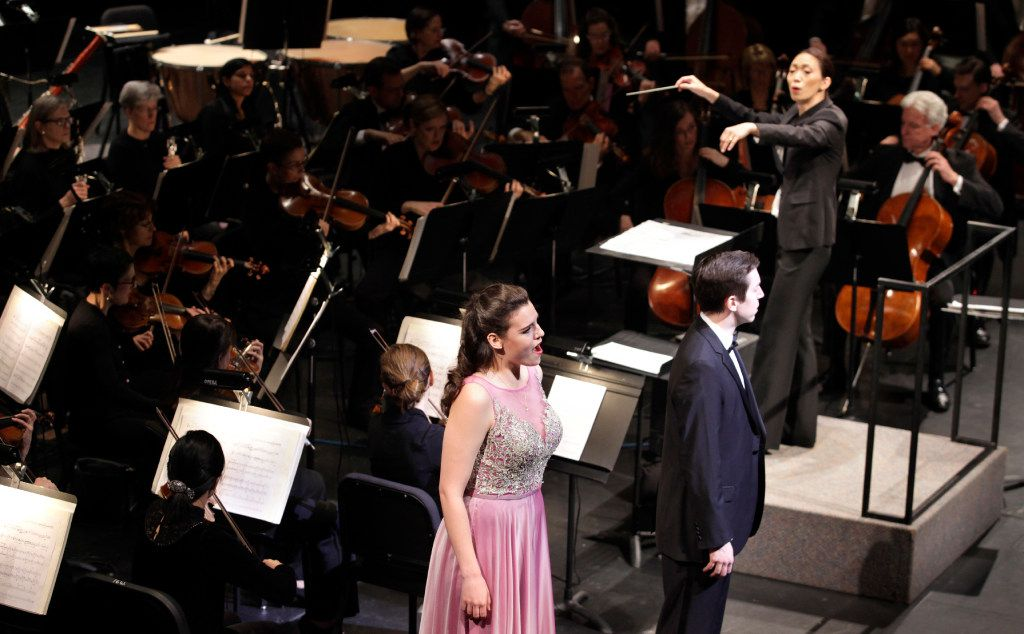 Chaowen Ting, with soprano Kirsten MacKinnon and tenor Jonas Hacker, conducts during the Institute For Women Conductors event at the Winspear Opera House in Dallas, TX, on Dec. 10, 2016. (Jason Janik/Special Contributor)