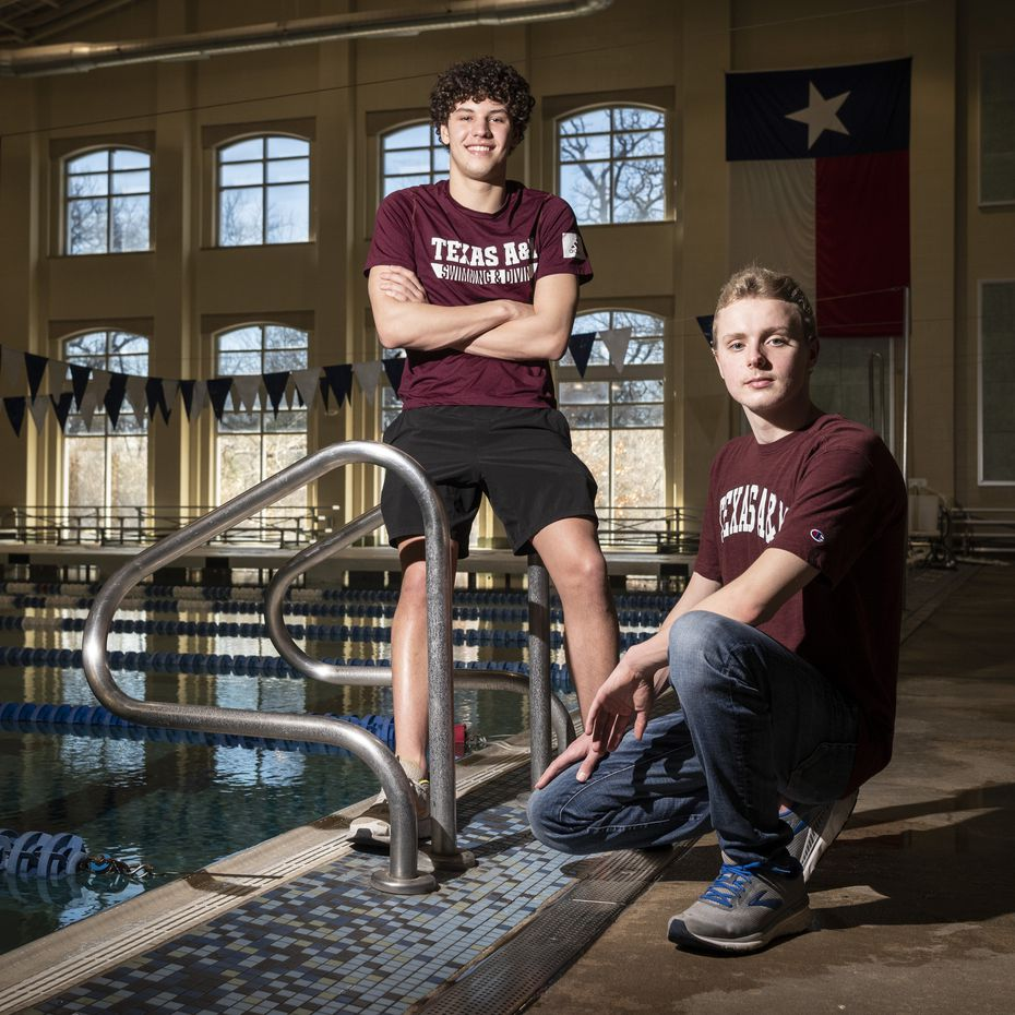 Noah Beladi, left, of Keller High School, and Trey Dickey, of Plano East High School, have both signed to swim for Texas A&M University, photographed at the Keller ISD Natatorium in Keller, on Wednesday, Feb. 24, 2021.