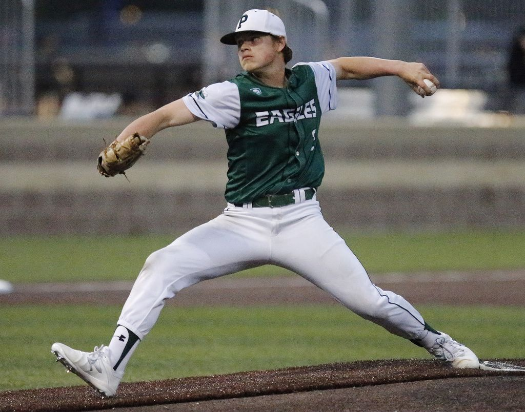 Prosper High School pitcher Jake Cosner (2) Throws a pitch in the first inning as Jesuit hosted Prosper High School in a district 9-6A baseball game played at Jesuit College Preparatory in Dallas on Friday, March 29, 2019.  (Stewart F. House/Special Contributor)