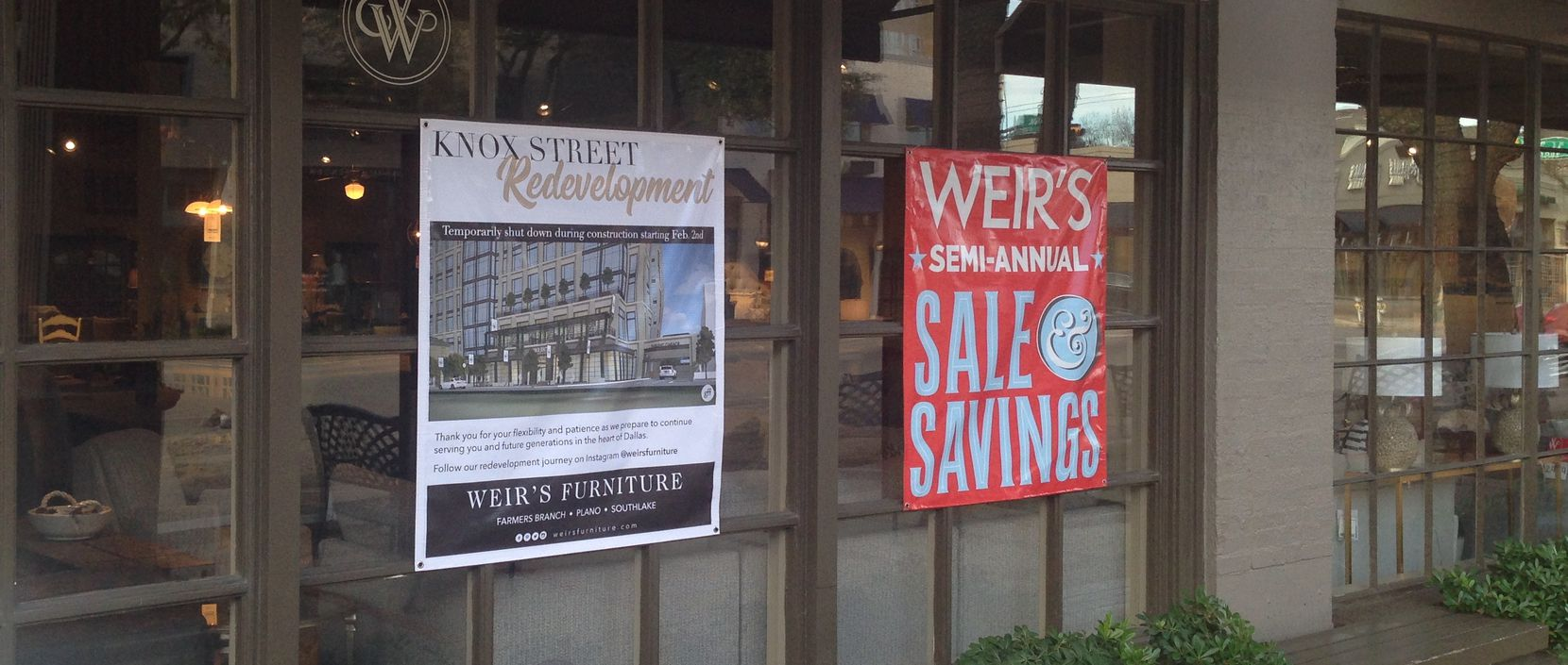 Signs on the windows of Weir's Knox Street store tell customers about the pending shutdown.