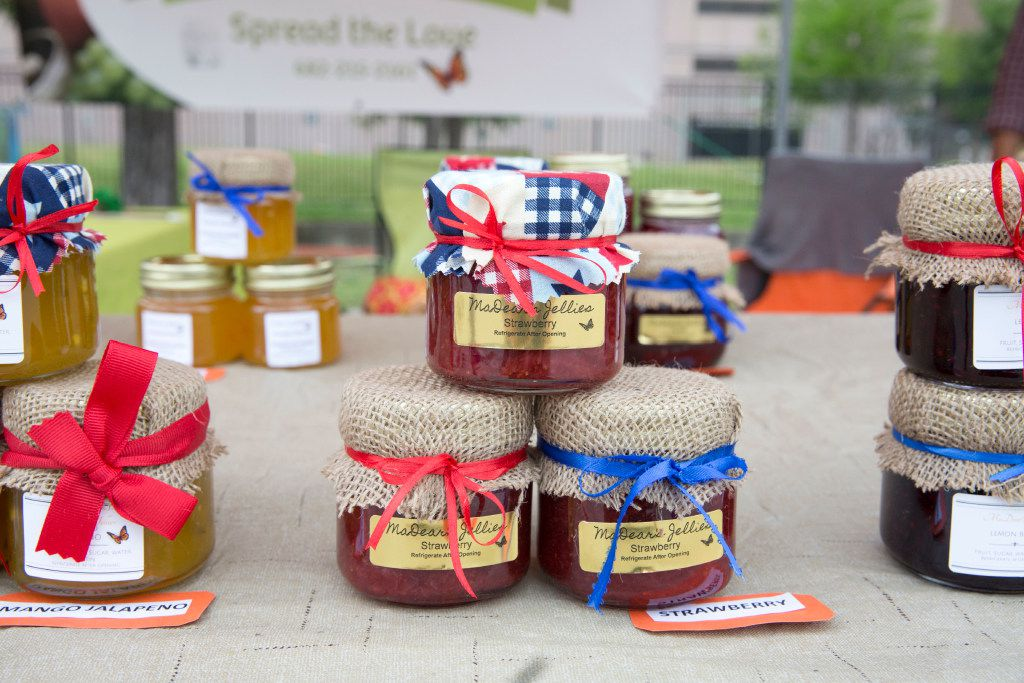 MaDear's Jellies is one of the vendors at the opening day of St. Michael's Farmers Market in Dallas. (Allison Slomowitz).