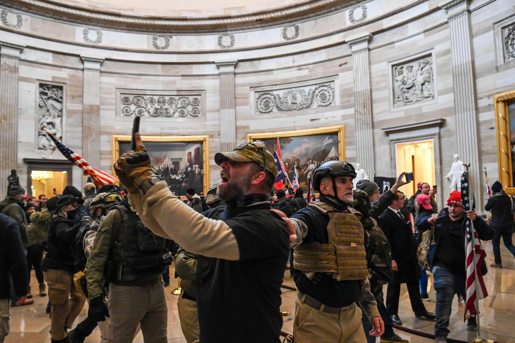 Supporters of US President Donald Trump enter the US Capitol's Rotunda on January 6, 2021, in Washington, DC. - Demonstrators breeched security and entered the Capitol as Congress debated the a 2020 presidential election Electoral Vote Certification.